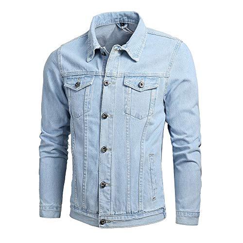 KPILP Herrenmode Herbst Winter Taste Einfarbig Vintage Jeansjacke Tops Bluse Mantel Outwear Langarm-Shirt(X1-hellblau,M) -