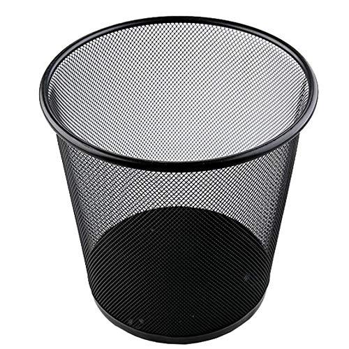 ZDS Eisen net Mülleimer/Papierkorb, runde Netztasche Sanitärrohr Wohnzimmer Schlafzimmer Müllsack Papierkorb schwarz (Size : Medium)