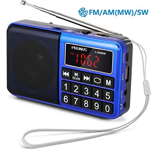 PRUNUS L-238SW Radio Portable Rechargeable FM/AM(MW)/SW USB Micro-SD et Lecteur Mp3 intégré. Clavier du...