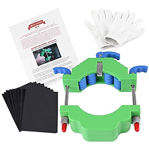 Bottle Cutter, Glass Bottle Cutter Tool for 43 to 103 mm Diameter Wine Whiskey Champagne Bottles Recycle Durable Kit for DIY Creative Gifts Candle Holder Ornaments Glass Cutter Machine with 10 Sheets Waterproof Sandpaper and 1 Pair Anti-cutting Gloves (Green)