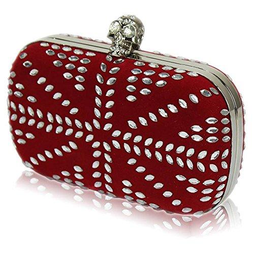 TrendStar Damen Kupplungs Taschen Damen Entwerfer Abend Abschlussball Partei Hochzeit Handtaschen Rot 2