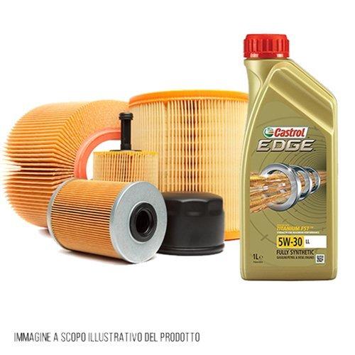 Kit tagliando auto, kit tre filtri e 5 litri olio motore Castrol Edge 5W30 (KF0087/fo)