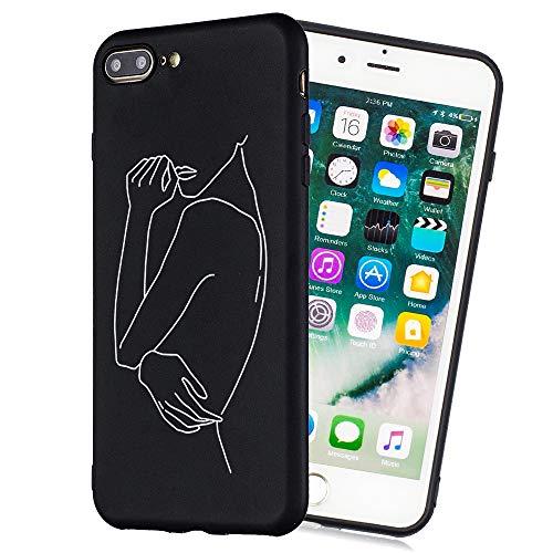HopMore Negro Funda iPhone 7 / iPhone 8 Silicona Antigolpes