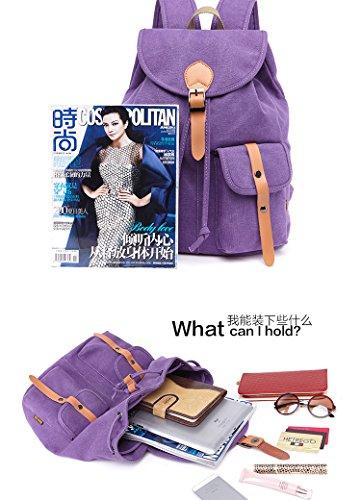 Yan Show Damen Segeltuch Schultertaschen Rucksack Multifunktions Tasche Studentasche Lila