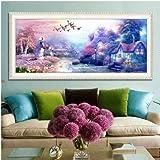 Wtdr 5D Diamant Malerei Kreuzstich 5D Punkt Bohrer, Wohnzimmer Schlafzimmer Malerei, Europäischen Häuschen Ölgemälde 50X120 Cm