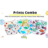 Superbottoms Super Nappy- Pack of 3- Soft, Organic Cotton Nappies for Newborn Babies with 100% Organic Cotton Padding (not Foam/Sponge) and with Gentle Elastics (Printed, Size 2)