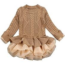 WINWINTOM Moda NiñAs O-Cuello Jersey De Punto SuéTeres De Invierno Crochet Tutu Vestidos Tops Ropa