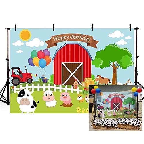 EdCott 7x5ft Cartoon Farm Kalb Lamm Baby Dusche Foto Kinder Geburtstag Party Dekoration Kulissen Happy Birthday Party Fotografie Hintergrund Foto Banner Neugeborenes Baby Portrait Foto - Kälber Für Gewichte