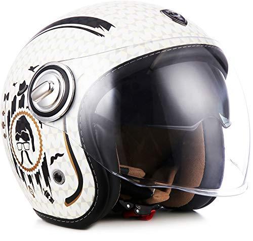 "Soxon® SP-888 ""Sir Snow"" · Jet-Helm · Motorrad-Helm Roller-Helm Scooter-Helm Bobber · ECE Sonnenvisier Schnellverschluss SlimShell Tasche S (55-56cm)"