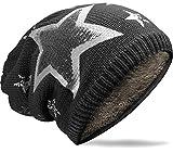 NavyBlu® warmes grobstrick Beanie Mütze mit Fleece Innenfutter und vintage Sterndruck M36