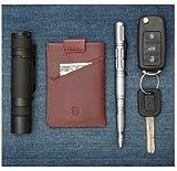 Kleines KREDITKARTENETUI / PORTEMONNAIE für Herren mit RFID Schutz. Leder GELDBEUTEL mit Geldklammer für bis zu 10 Karten (Kreditkarten, Scheckkarten, Visitenkarten auch Ausweis, Führerschein)
