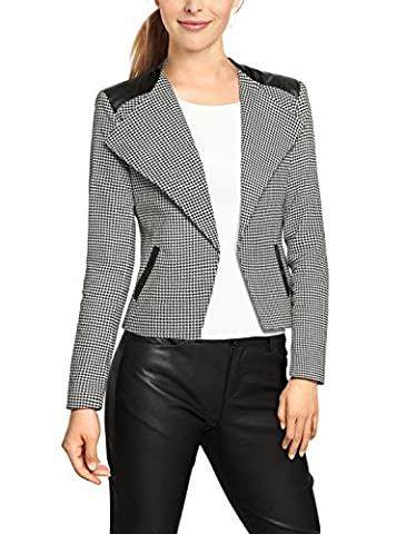 Allegra K Women Houndstooth Pattern Imitation Leather Panel Long Sleeves