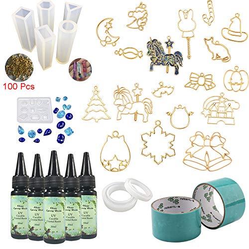 5 Stück Resin (5 Stücke 30 ML Kristall Epoxidharz 17 Metall Schmuck 8 Stücke Transparant Silikonform Mit 100 Ringe Für DIY Handwerk Schmuck Ohrringe Halskette Armband Nail art Zubehör)