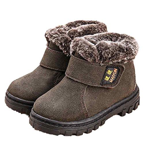 Kingko® 1-6 Jahr Baby warme gezeichnete Schnee-Aufladungen Art- und Weiseflache Wintermartinaufladungen Grau