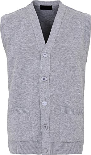 Maan Store Mens Knitted Waistcoat Full Front Button Closure With Front Pockets V Neck Sleevless Knitted Top