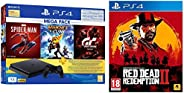 PS4 1TB Slim Bundled with Spider-Man, GTaSport, Ratchet & Clank And PSN 3Month&Red Dead Redemption -