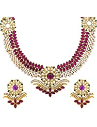 Dancing Girl Bridal Wedding Purple Green Metal Alloy Jewellery Set With Necklace And Earring For Women