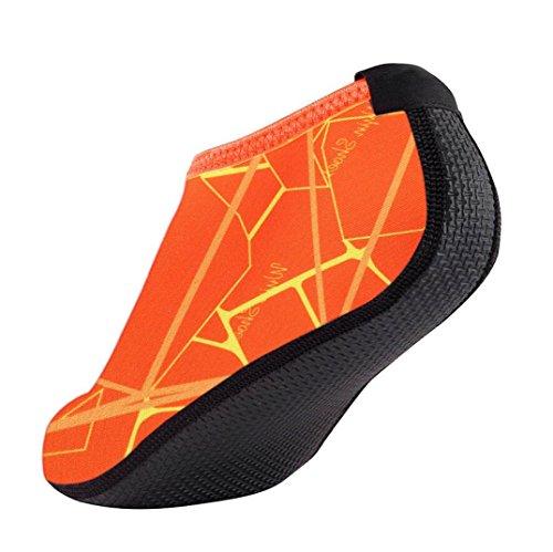 FNKDOR Unisex Fitnessschuhe Aquaschuhe Breathable Schlüpfen Schnell Trocknend Schwimmschuhe Yoga Schuhe für Damen Herren Kinder (34, Orange)