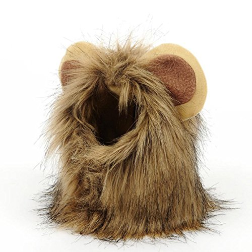 PETCUTE Haustier Kostüm Löwe Mähne Perücke Katze Hund Welpe Halloween Ankleiden mit den Ohren Cosplay Hut Weihnachten Geschenk