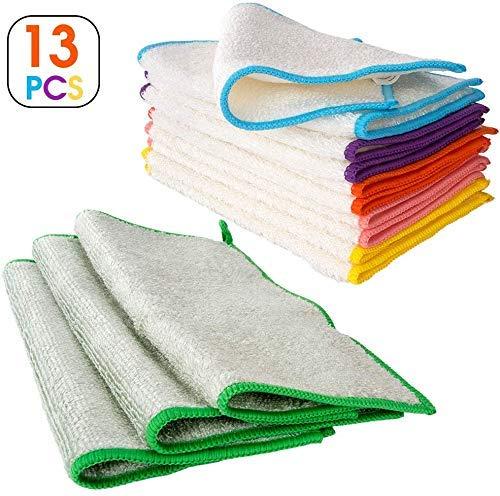 Masthome 13pcs Bambus Putztücher ohne Mikrofaser für Küche Bambusfaser Putzlappen Super Saugfähig und Umweltfreundliche Reinigungs- und Geschirrtücher