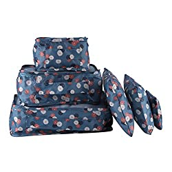 Packing Cubes Travel Sets 6pcs Waterproof Portable Cube Organizer Clothes Laundry Shoe & Toiletry Packing Storage Bag Box(blue Flowers)
