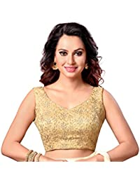 a47cfc4444e0e STUDIO SHRINGAAR LATEST GOLDEN FULLY EMBROIDERED READYMADE STITCHED SLEEVELESS  SAREE BLOUSE FOR WOMEN