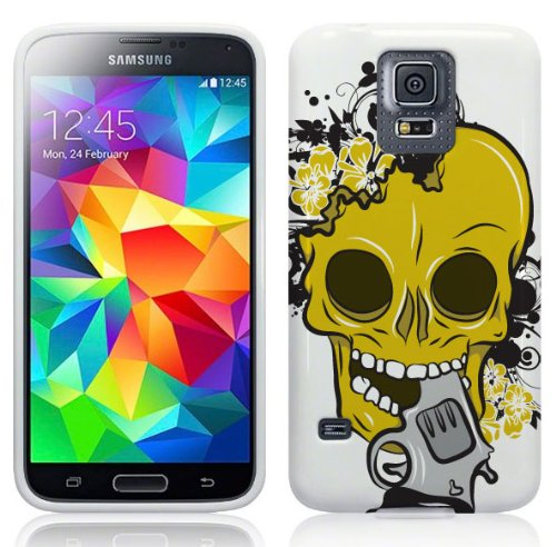 Samsung Galaxy S5 Hülle Silikonhülle (TPU) Case Cover - Cooles gelb Totenkopf Skull Design Muster - Weiß und gelb