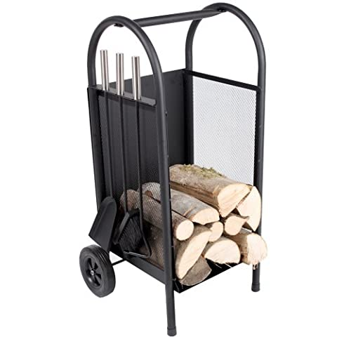 TecTake Log Carrying and Storage Box Trolley Firewood Cart Basket Log Holder Wooden Cart with a wooden shovel, broom and poker