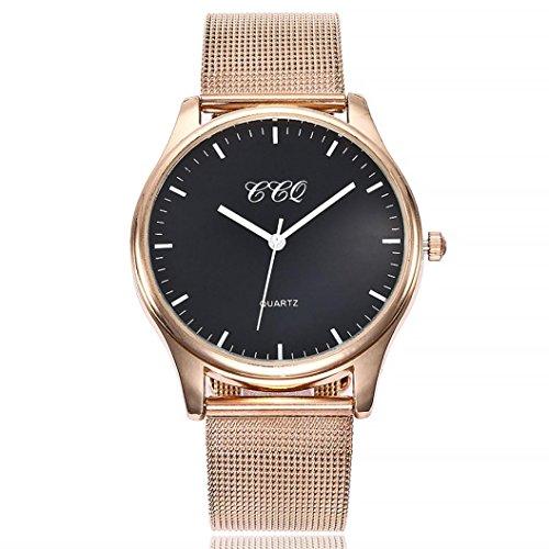 Uhren Dellin Uhren Damen Beiläufige Stahlstreifen Quarz Edelstahl-Band-Marmorband-Uhr-analoge Armbanduhr (C)