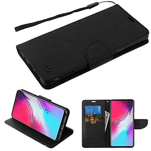 MyBAT Schutzhülle für Samsung Galaxy S10 5G (PU-Leder, mit Riemen und Lasche, mit Eingabestift), Schwarz - Mobile Iphone Handy Virgin