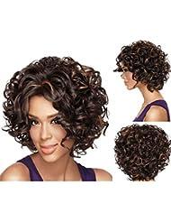 Hrph Mode Sexy Cheveux Courts Bouclés 35cm Cosplay Femme Perruque de Cheveux Naturelle Lace Résistante au Lavage à Haute Température