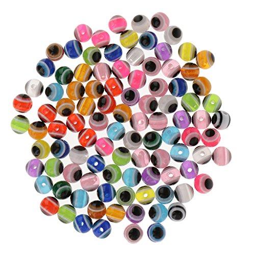 MagiDeal 50/100 Piezas Surtido de Colores Rayas Resina Rspaciador Cuentas para DIY Joyería - 100pcs 8mm