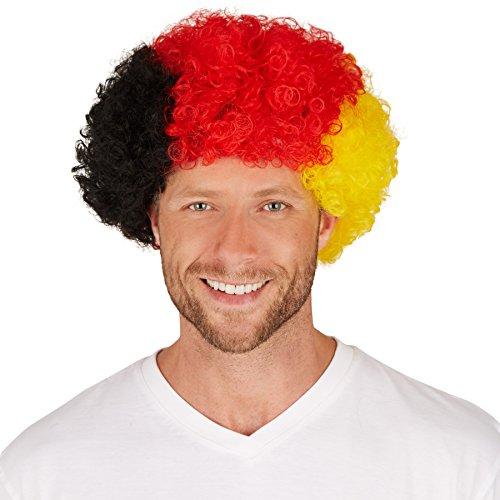 Deutschland Afro | Tolle Lockenpracht | Bestens für Fan-Veranstaltungen und auch für Fasching geeignet (Günstige Clown Outfits)