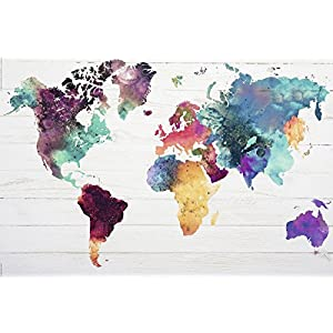Close Up Póster Mapa del Mundo El Mundo en Acuarelas (91,5cm x 61cm) + 2 Marcos Negros para póster con suspención