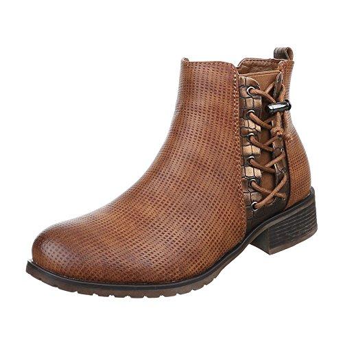 Damen Schuhe Moderne Chelsea Boots Reißverschluss Chelsea Boots Stiefeletten Blockabsatz Camel