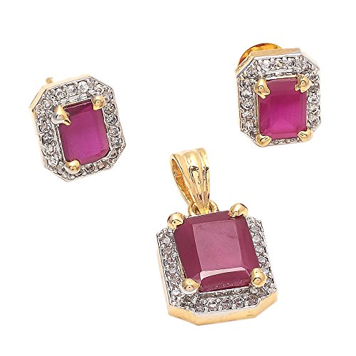 Geode Delight Gold Plated Ruby Colored Stone American Diamond Pendant Set For Women