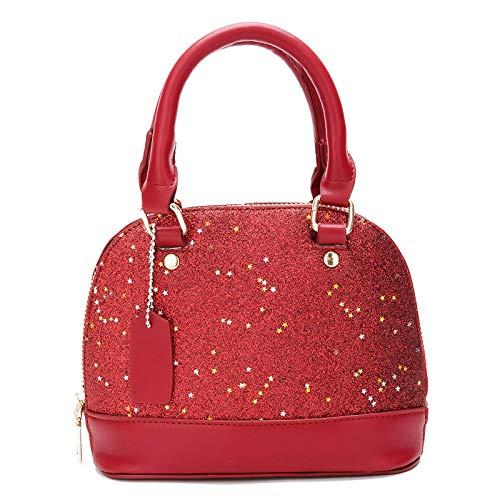 dreamcs Schulter Messenger Bag Pailletten Mode Frauen Handtaschen Geldbörse Casual Totes Umhängetasche Hobo Damen Vintage Messenger Bag @ Red -