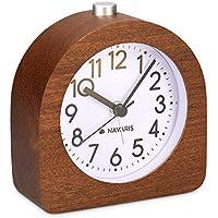 Navaris Despertador analógico - Despertador Madera con luz y Sonido - Reloj Retro con función repetición
