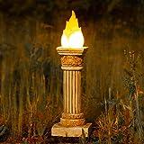 garden mile Gartenstatue mit olympischem Flammeneffekt, groß, Steineffekt, solarbetrieben, römisches Kolosseum, Feuer, Gartenornament, antikes griechisches Weiß
