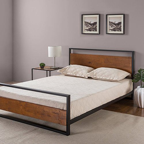Zinus Metal Platform Bed with Headboard and Footboard/Box Spring Optional Slat Support, Black Wood, King