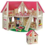 howa wooden dolls house with 21 pcs. furniture and 4 dolls 7013