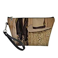 Western Decor Useful Cosmetic Bag,Snake Skin Cowboy Boots Timber Planks in Barn with Hay Old West Austin Texas for Travel ,21.5×14.5×6.5IN