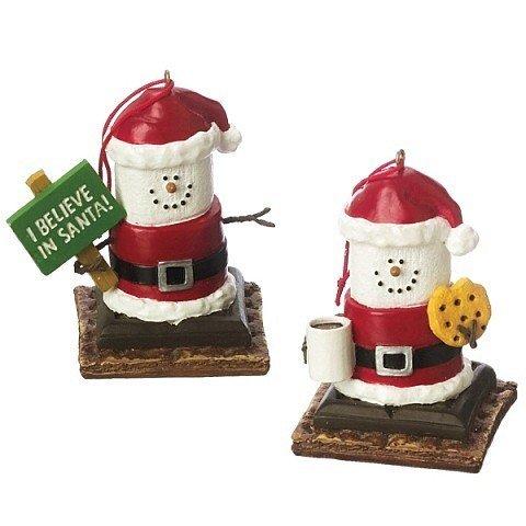 S 'Mores Santa Weihnachten Ornament I Believe In Santa & Cookies und Milch Set von 2