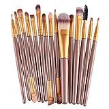 Oshide 15 Stück Professionelle Makeup Bürsten Kosmetik Set Foundation Powder Lidschatten Augenbraue Eyeliner Lippen Make-up Pinsel Auge Gesicht Pinsel Set