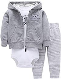 Newborn Baby Boys Coat Jacket + Romper + Long Pants 3pcs Clothing Set Outfit