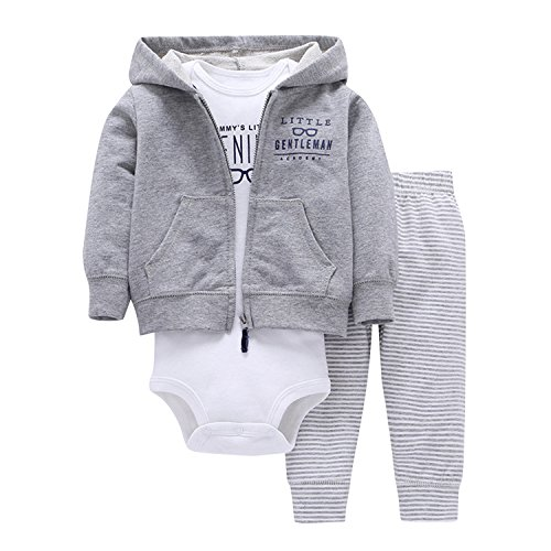 Newborn Baby Boys Coat Jacket + Romper + Long Pants 3pcs Clothing Set Outfit Grey A 9-12 Months