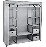 Large Grey Fabric Canvas Bedroom Wardrobe With Hanging Rail Shelving Clothes Storage Cupboard Unit