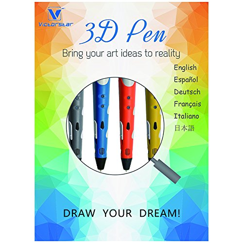 3D Stift mit Papierschablonen und Schraubendreher / mit Militärischen Motor - VICTORSTAR RP100A Blau für 3D-Zeichnung 3D Doodling / Kompatibel mit ABS PLA Filament + 5 Schablonen + Adapter + Filament + Schraubendreher (Blau) - 7