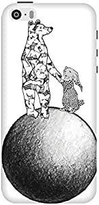 The Racoon Lean printed designer hard back mobile phone case cover for Apple Iphone 5/5s. (The Moon R)