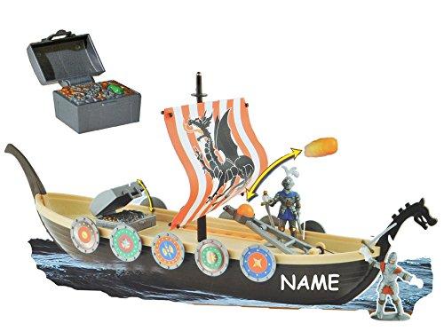 Unbekannt Wikingerschiff incl. Namen - schwimmt - im Wasser spielbar ! incl. Figuren + Zubehör - Wikinger - für Kinder zum Spielen + Bauen aus Plastik / Kunststoff - De..